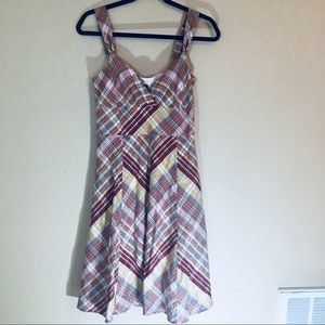 Brown plaid dress size 4 cotton summery dress euc